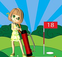 Father's Day Card with little Golfing Girl by Moonlake