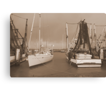 Boats at the Mariner in Flooded Ballina. Canvas Print