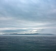 dark island fog flow, Puget Sound by Christopher Barton