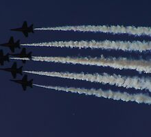 Blue Angels in Silhouette by Judith Hayes
