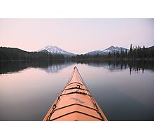 Sparks Lake kayak, Oregon Photographic Print