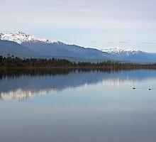 Lake Mahinapua and Southern Alps, New Zealand  by Christopher Barton