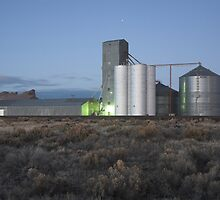 grain silos and starlight, California , United States of America by Christopher Barton
