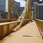 Yellow bridge in Pittsburgh by Zal Lazkowicz