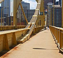 Yellow bridge in Pittsburgh by Zal Lazkowicz