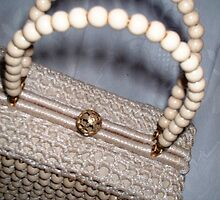 1950's Cream Beaded bag by Sazfab