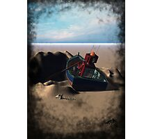 Little Red Robot in a Row Boat Photographic Print