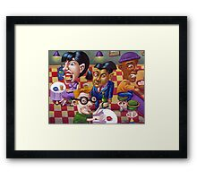 Chatting at the local! Framed Print