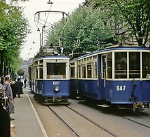 Trams in Zurich 1961 by Fred Mitchell