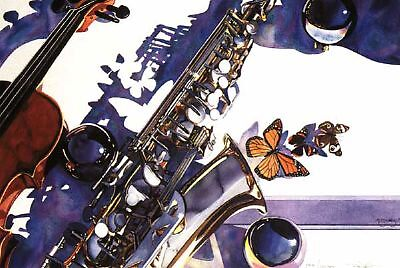 &quot;Symphonic Manifestation&quot; Musical Instruments Watercolor by Paul Jackson