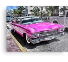 Pink Cadillac - Collins Ave - Miami Metal Print