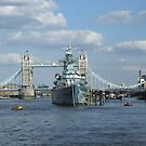 Tower Bridge and HMS Belfast by Marie Brown ©