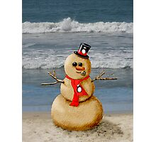 Sand Snowman at the beach! Photographic Print