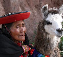 LADY WITH LLAMA - PERU by Michael Sheridan