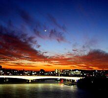 Sunset over Captain Cook Bridge, Brisbane by Renae Walton