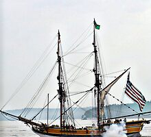 Lady Washington firing cannons by Rhonda R Clements
