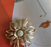 Gold Diamante Flower Brooch by Sazfab