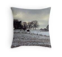Barn in the Michigan Snow Throw Pillow