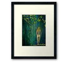 Nude by Waterfall Framed Print