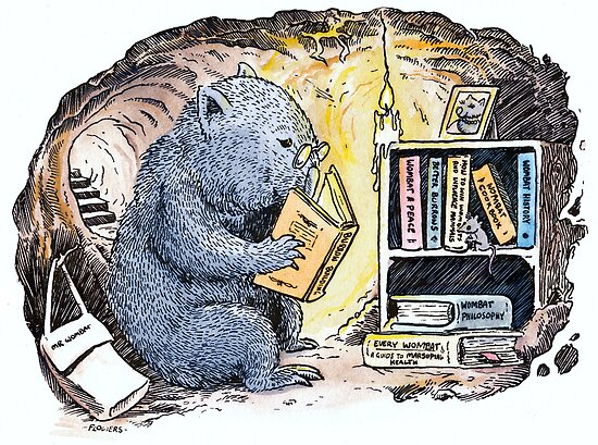 Mr Wombat Reads by SnakeArtist