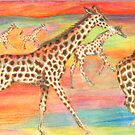Running Giraffe Herd by Catherine  Howell