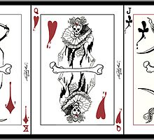 Skeleton playing card spread by MicheleMarie