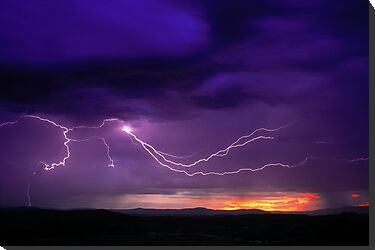Sunrise Lightning, Yarra Valley, Victoria. by Ern Mainka