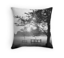 Hob Moor sunrise in black and white Throw Pillow