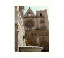 fountain and cathedral st jean, Lyon Art Print