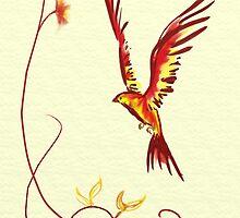 Birthday Bird: a littler phoenix by Flynnthecat