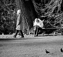Feeding the squirrels as the world walks by by clickinhistory