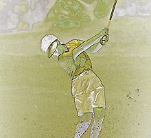 Digital Art Image of Female Golfer by Diane Johnson