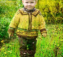 My grandson in my grand grand father`s field by Antanas