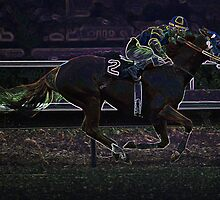 Digital Art Image of Jockey and Horse in Race by Diane Johnson