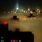Manhattan New York in a deep fog by milton ginos