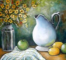 White Pitcher Still Life by Pamela Plante