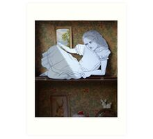 Alice in the white Rabbit's House Art Print