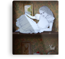Alice in the white Rabbit's House Metal Print