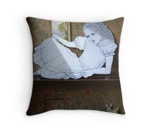 Alice in the white Rabbit's House Throw Pillow