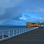 Queescliff pier with rainbow by Sharon McDowall