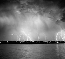 Lightning at the Lake by Bo Insogna