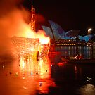 burning ship in front of the opera house by steveault