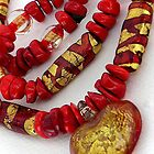 glass, gold and coral  by betty porteus