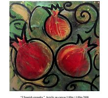 3 Spanish pomegranates by Monica Moscovich