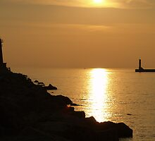 Sunset Between the Lighthouses at Muskegon Harbor by BarbL