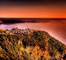 Corniglia at dusk by Roberto Pagani