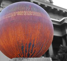 The million dollar mansion with big rusty globe fence by Lenny La Rue, IPA