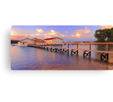 Boatsheds On The Swan At Sunset   Canvas Print