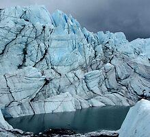 Ice cliffs over lake under storm by LichenRockArts