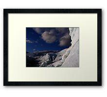 Far ice - climber in deep blue bliss Framed Print